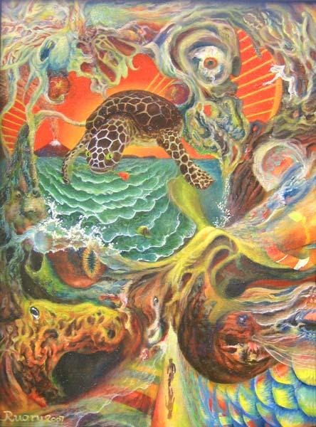 Turtle, Oil on canvas board, 12 x 16