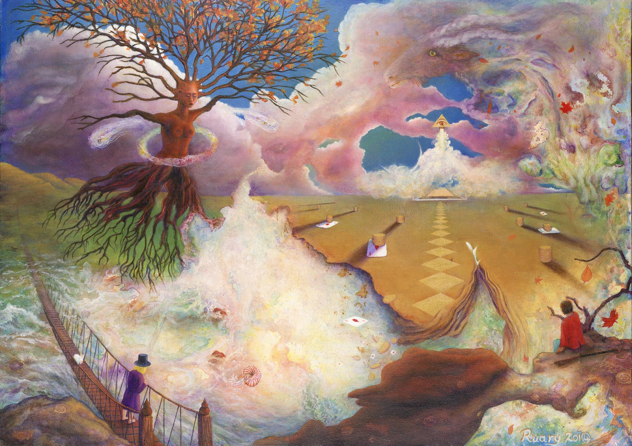 Evicting Mamon from the Nautilus (2010/14), Oil on canvas, 28 x 20″, Bangkok/Glastonbury, England