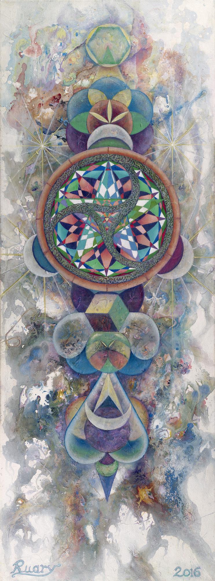 Sacred Chaos (2016), Oil on canvas, 12 x 30″, Glastonbury, England