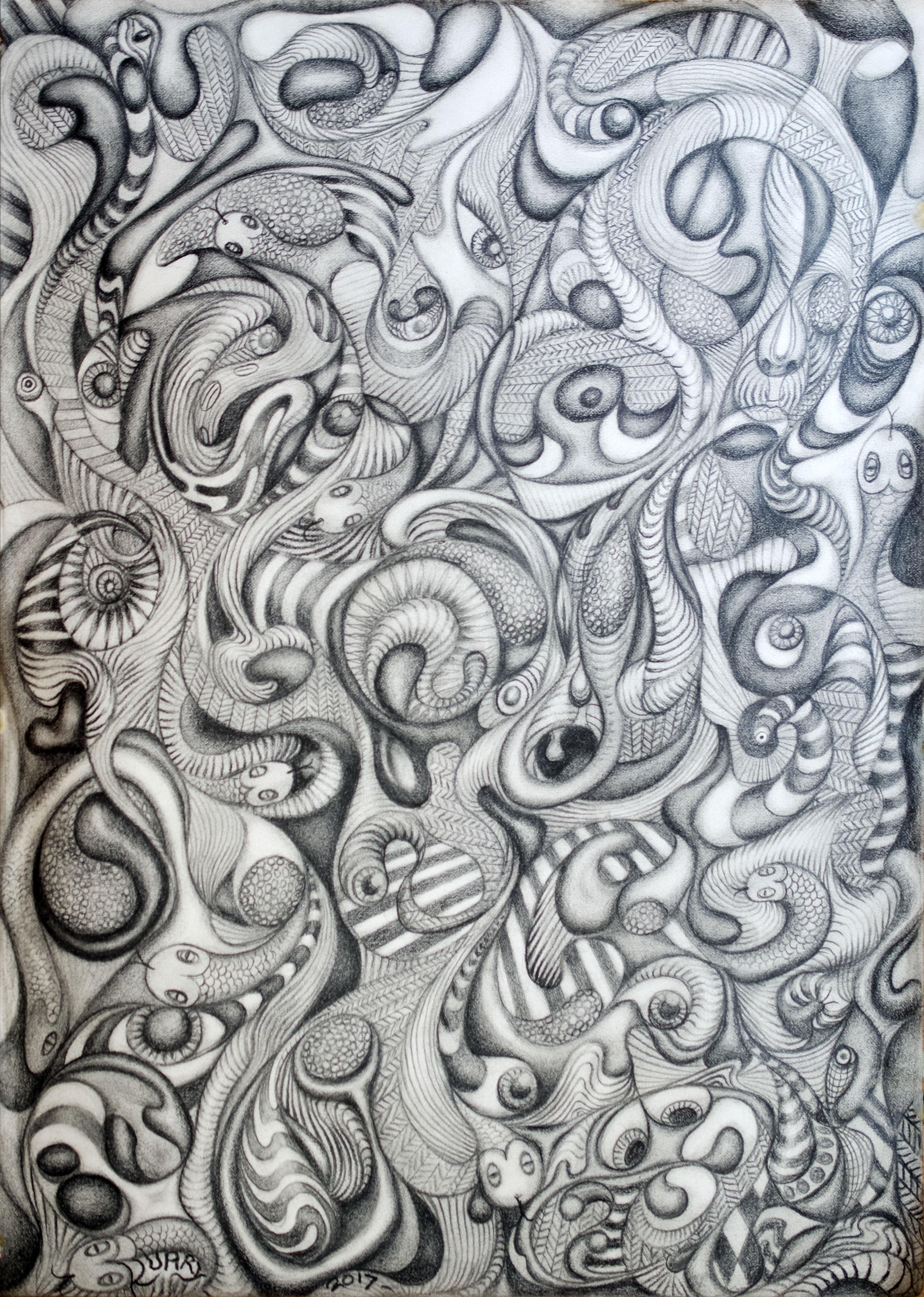 Boneyejelly (2017), pencil on A3 paper. Bath, England