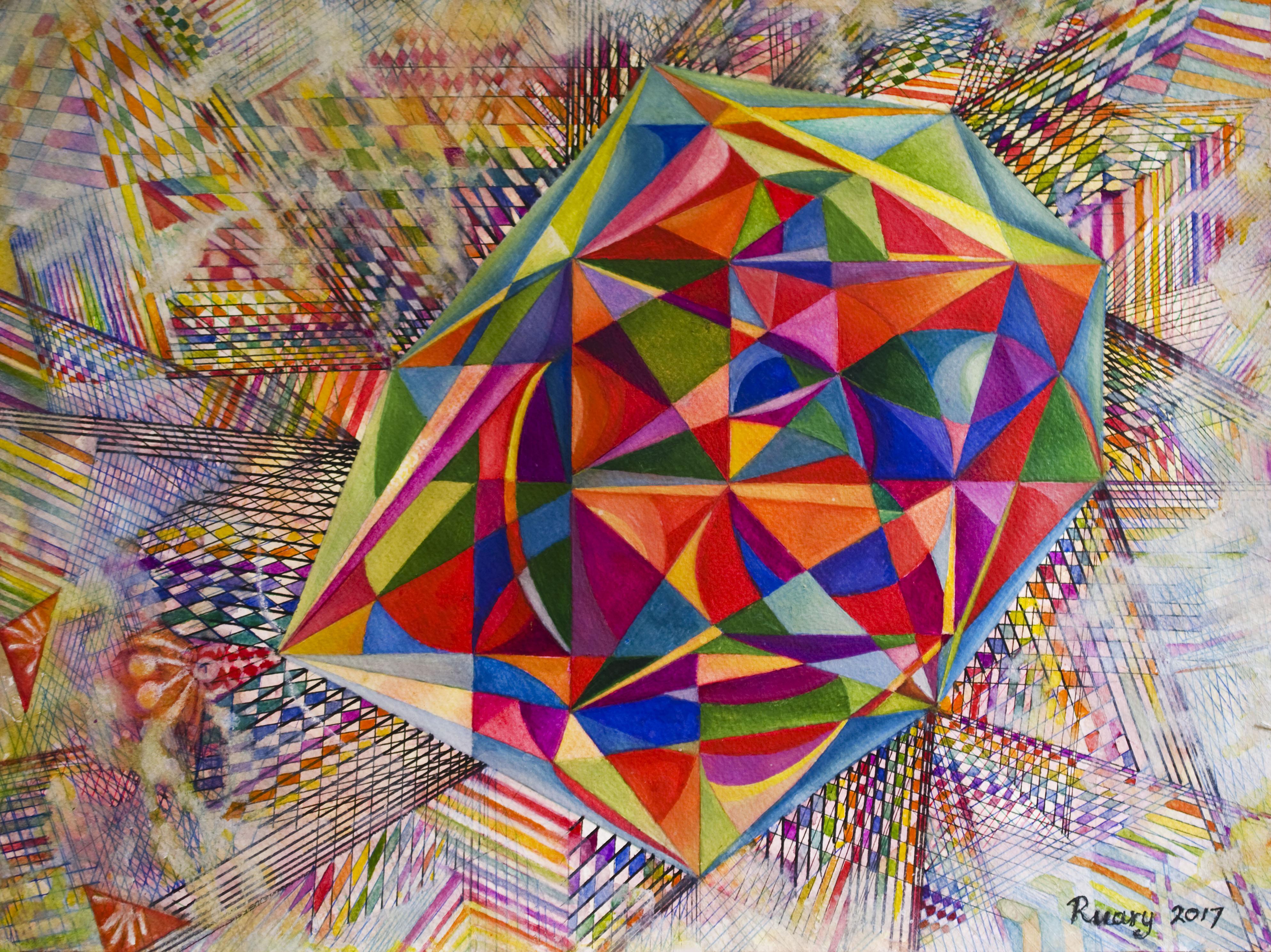 Virystal (2017), compass construction, pen and watercolour on A3 paper. Butleigh, England
