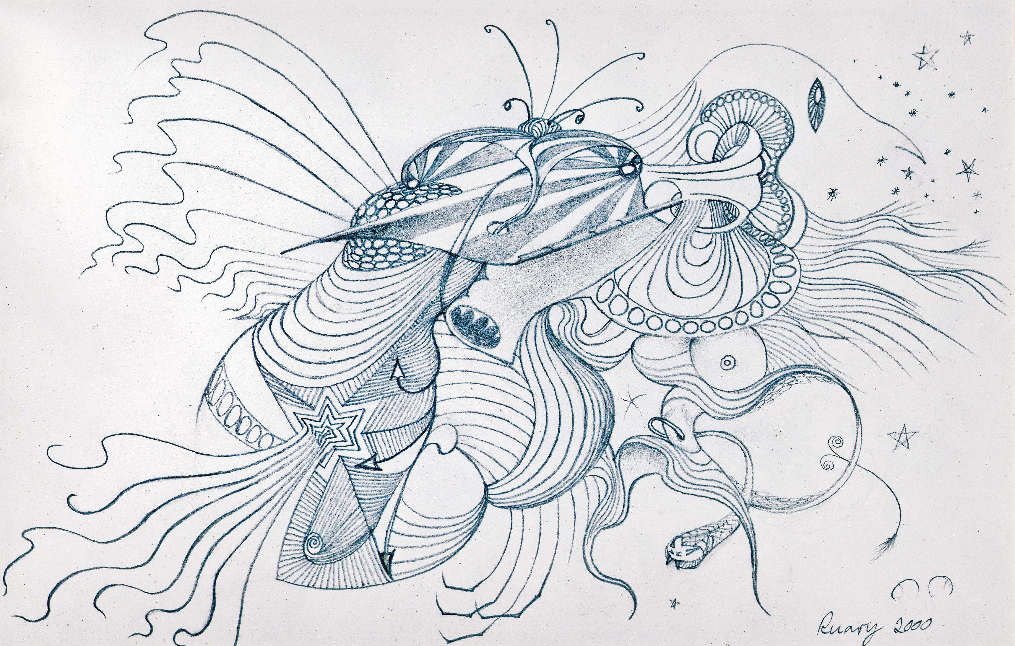 Butterbird Bugs (2000), pencil on 8.5x11. Oakland USA