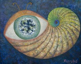 Earthworm, Oil on canvas board, 2013, 16 x 20