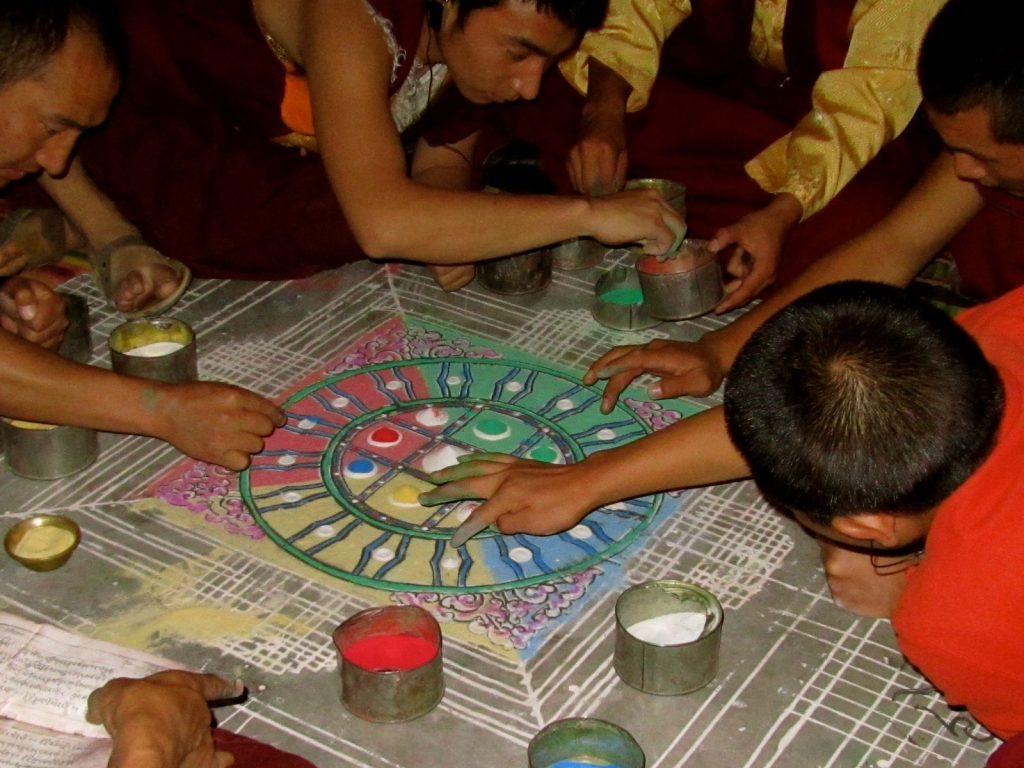 Monks in Dege, Kham making sand mandala