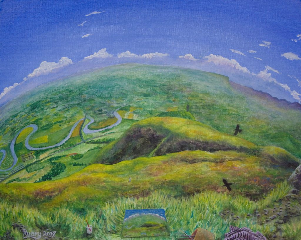 Forth Valley from Damyat, acrylic on canvas board (2017)