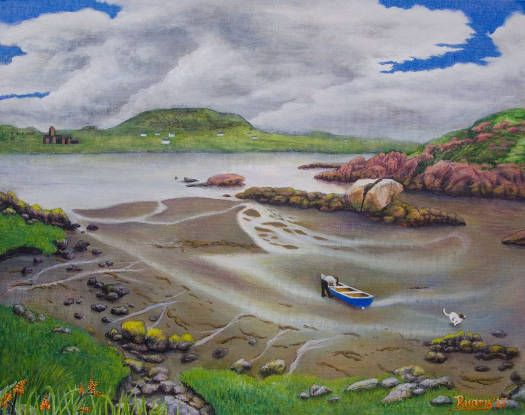 Iona from Fhionport, acrylic on canvas board (2017)